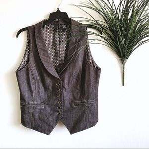New Directions Brown Button Up Vest